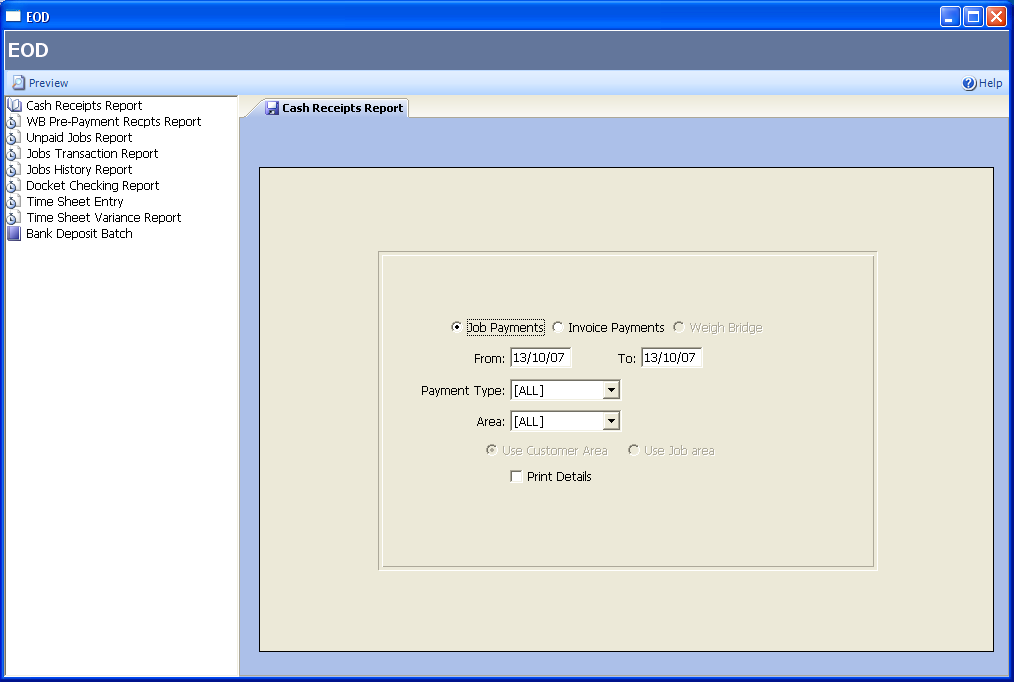 ServicePRO Software EOD function